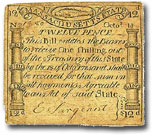 Massachusetts 1 shilling note, 1776