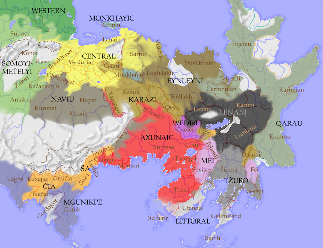 A map of the Eastern languages